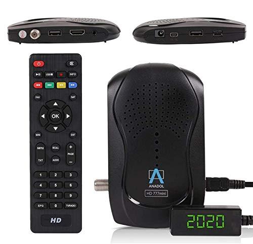 Anadol Timeshift HD 777 con función de grabación PVR Timeshift – 1080p HDTV digital Mini Sat Receptor Full HD de bajo consumo – Mini receptor con emisores Astra preinstalados – 12 V Camping