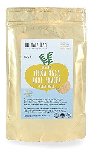 Gelbe Maca Wurzel Pulver, gelatiniert – 500g – bio- zertifiziert, frische Ernte aus Peru, Fair Trade, gentechnikfrei, glutenfrei, vegan, 50 Portionen