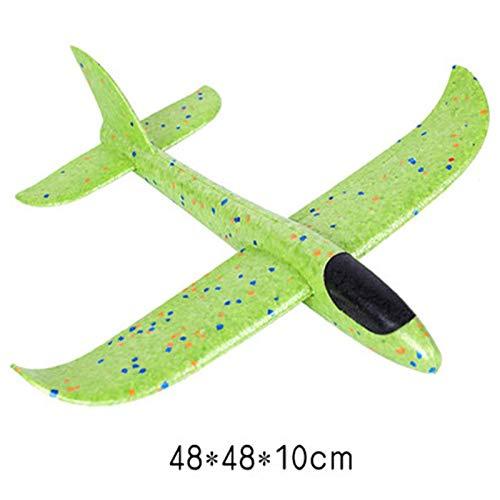 HUOQILIN Frisbee Spielzeug Hand Werfen Flugzeuge Schaum Outdoor UFO Schaukel Modell Montage RC Segelflugzeug Frisbee Spielzeug (Color : Green, Size : 68 * 54 * 12)