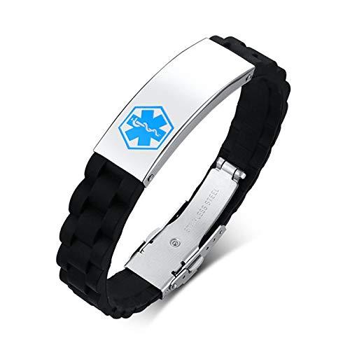AnazoZ Pulsera Hombre,Pulseras Hombre Acero Inoxidable Personalizadas Signo Médico Pulsera Plata Negro Azul