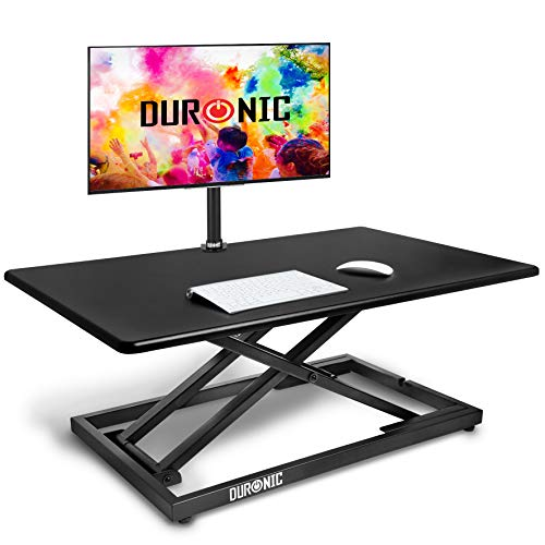 Duronic Sit-Stand Desk DM05D10 | Height Adjustable Office Workstation | 80x51cm Platform | Raises from 5.5-42cm | Riser for PC Computer Screen, Keyboard, Laptop | Ergonomic Desktop Table Converter