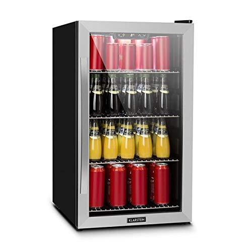 Klarstein Beersafe - Getränke-Kühlschrank mit Edelstahl-Front, Glastür, Mini-Kühlschrank, Energieeffizienzklasse: A+, 0 bis 10 °C, wechselbarer Türanschlag, 124 L, schwarz-silber