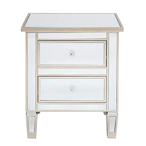 Nobrannd NightstandModern And Contemporary Mirrored 2-Drawers Nightstand Bedside Table Silver Rose Side Table Night TableHome Bedroom Decoration Storage
