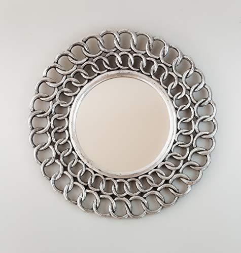 Rococo Espejo Decorativo de Madera Gold Chaine Circle de 60x60cm en Plata (Envejecida)