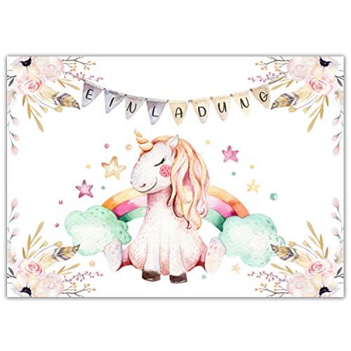 Pandawal Kindergeburtstag Einladungskarten 12x süße Einhorn Karten tolle Einladung für Kinder geeignet für Mädchen und Junge Ideal für Geburtstag Babyparty Kinderparty Pyjama Party