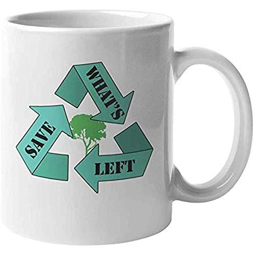 Porseleinen beker Bewaar wat er over is. Aardedag Of Recycle Grafisch Ontwerp Koffie Thee Cadeaumok voor Milieuactivist Advocaat Ecoloog Botanist Groene Duim Jeugd Tiener Mannen en Vrouwen 11oz