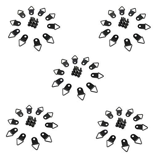 Her Kindness 50 Stück Dreieck Ringrahmen Aufhänger Haken Bilderrahmen Haken mit 50 Stück Schrauben für Haus Büro Foto Bild Malerei Hängen, Sortiert