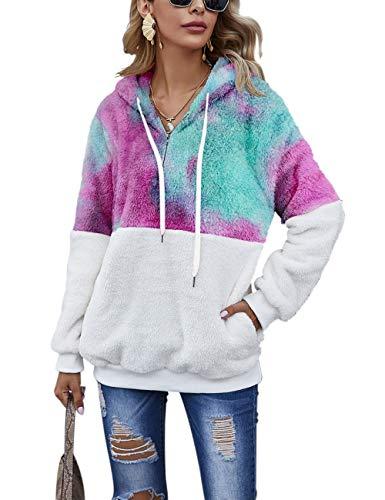 Romanstii Hoodie Damen Kapuzenpullover Teddy-Fleece Pullover Herbst Winter Warm Oberteil Langarm Einfarbig Casual Sweatshirt Batik
