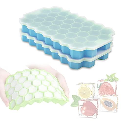 RUBAPOSM Bandejas de Cubitos de Hielo con Tapa 2 Paquetes de Moldes de Silicona para Cubitos de Hielo Moldes de Hielo Flexibles Reutilizables para Whisky Honeycomb grids