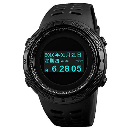 #N/A/a Reloj Deportivo Digital para Hombres Led con Reloj de Pulsera Militar Electrónico Impermeable - Negro