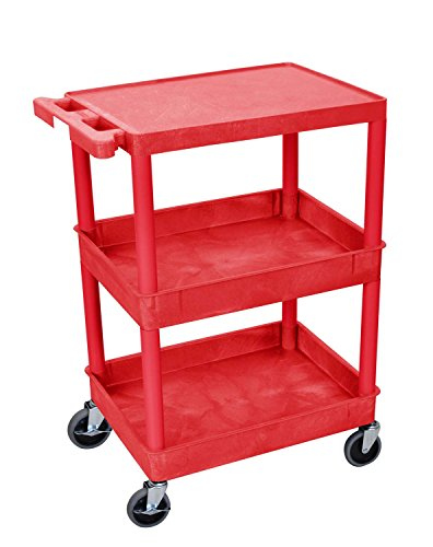 Luxor Mobile Multipurpose Utility Flat Top and Tub Middle/Bottom Shelf Cart with Ergonomic Push Handle - Red