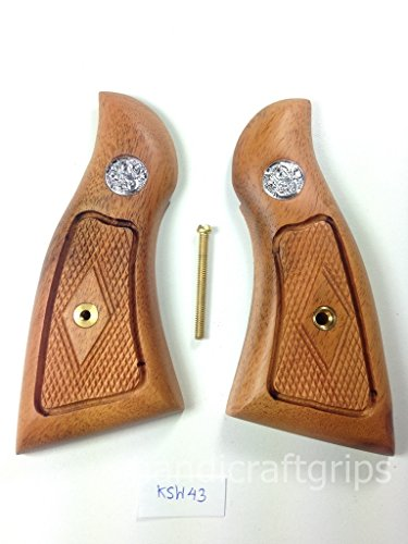 New Smith & Wesson K/L S&W K L Frame Square Butt Revolver Grips Hardwood Wood Finger Groove Smooth Handmade Beautiful Handcraft Special Design Grip Sport for Men Birthday Gift #Ksw43