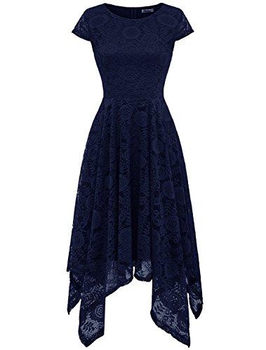 Aonour AR8009 Damen Spitze Brautjungfern Party Kleid Knielang Asymmetrisches Cocktailkleid Navyblau...