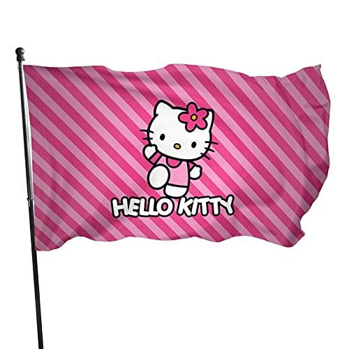 Cartoon Anime Cute Hello Kitty Pinta Striscia Linea Bifacciale Bandiere Colorate, Usato come Segnale Decorativo Per Terrazze Interne ed Esterni In Cortili Vacanze