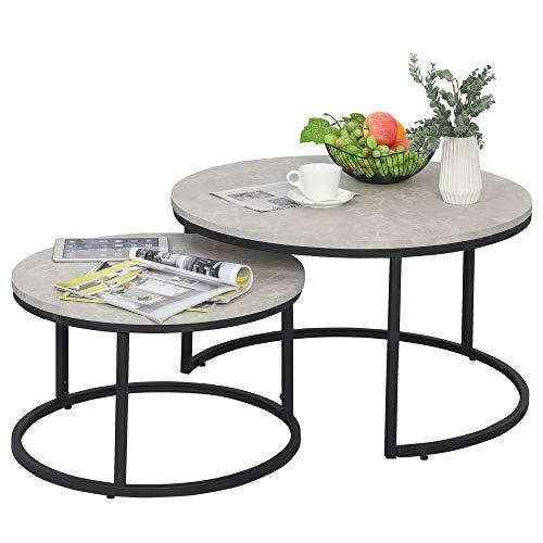 HOMCOM Lot de 2 Tables Basses Rondes gigogne empilables Plateau MDF Gris et Pieds en métal Noir