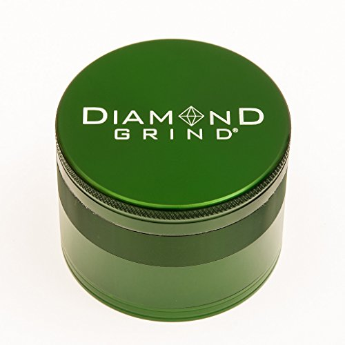 "Diamond Grind 4 Piece Aluminum Herb Grinder with screen 75mm (3.00"") GREEN"