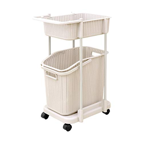 WEIMALL ランドリーバスケット スリム 2段 キャスター付き 洗濯かご ランドリーラック 組立式 浴室 洗濯 収納 (ホワイト)