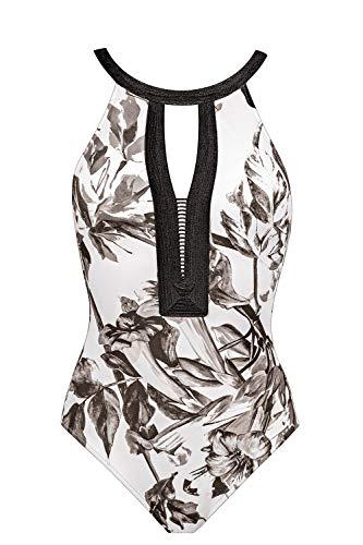 Maryan Mehlhorn Night Garden High Neck Badeanzug Swimsuit ohne Bügel (40 C, White-Greyscale (280))