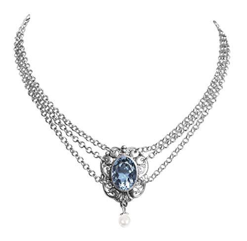 Moschen-Bayern Trachtenschmuck Dirndlschmuck Damen Kropfband Tracht Perlen Kropfkette Trachtenkette Dirndlkette Weiß Silber Blau