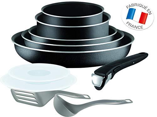 Tefal Essential Ingenio Juego De 10 Piezas De Sartenes Y Cacerolas Con Asa Desmontable, Tapas Y Cubiertos De Cocinar, 20/22/26 Cm