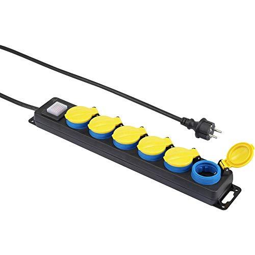 Renkforce 650D-CMB Steckdosenleiste mit Schalter 6fach Schwarz, Gelb, Blau Schutzkontakt 1 St.