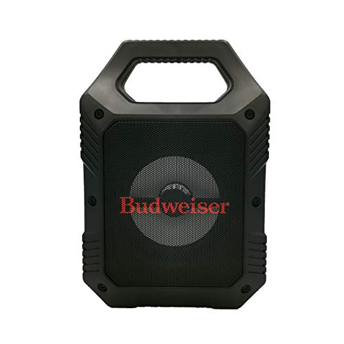 Budweiser Party Tailgate Bluetooth Speaker, with LED Lighting, FM Radio, and 1200mAh Rechargeable Battery