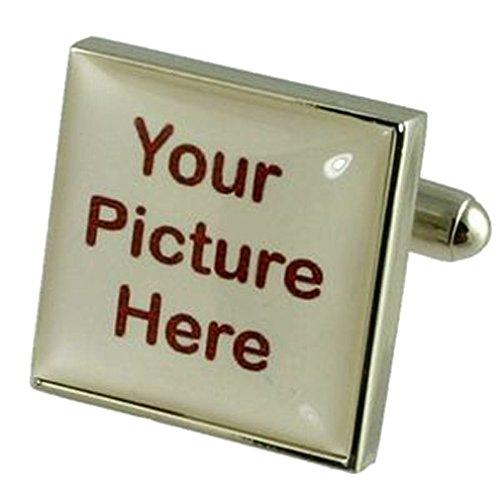 Select Gifts Boutons de manchette carré photo personnalisé fort Chrome