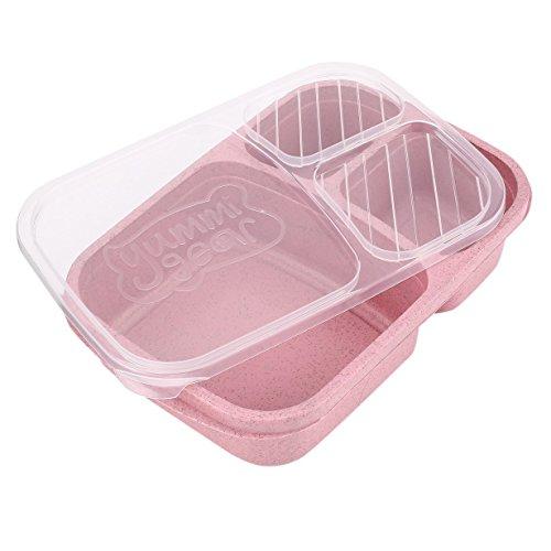 Boîte de Bento paille de blé 3 Grilles avec couvercle Boîte de nourriture micro-ondes Bac de rangement biodégradable Boîte à Bento déjeuner Set de vaisselle