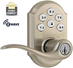 Kwikset 912 Z-Wave SmartCode Electronic Touchpad with Tustin Lever, Satin Nickel, featuring SmartKey, Works with Alexa via SmartThings, Wink, or Iris
