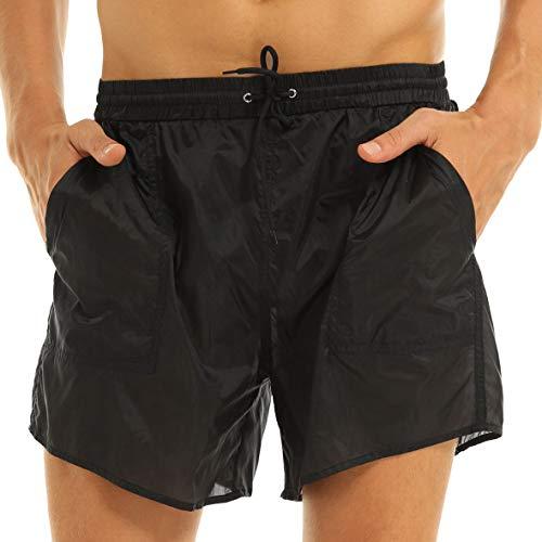 Yeahdor Boxershorts Herren Semi-Transparent Slip Sexy Shorts Atmungsaktive Bikinislip Badeshorts mit Taschen Unterwäsche für Schwimm Poolparty Schwarz B XL