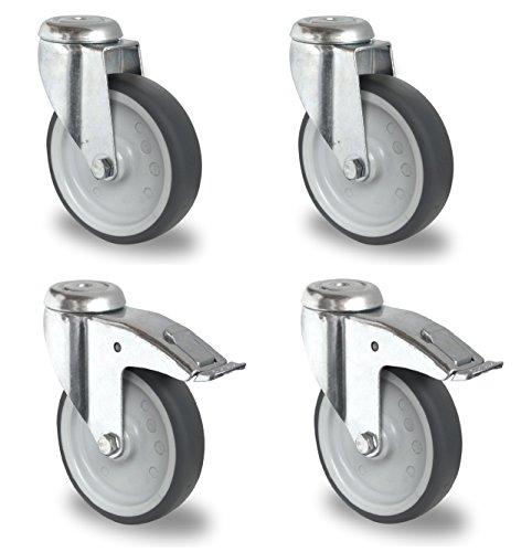 Satz Apparaterolle Lenkrolle mit ohne Bremse 100 mm ohne Feststeller Gummi grau-spurlos Rückenloch Möbelrolle Transportrolle