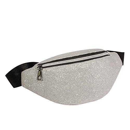 ALIKEEY mode dames bling pailletten schoudertas messenger tas borsttas zilver