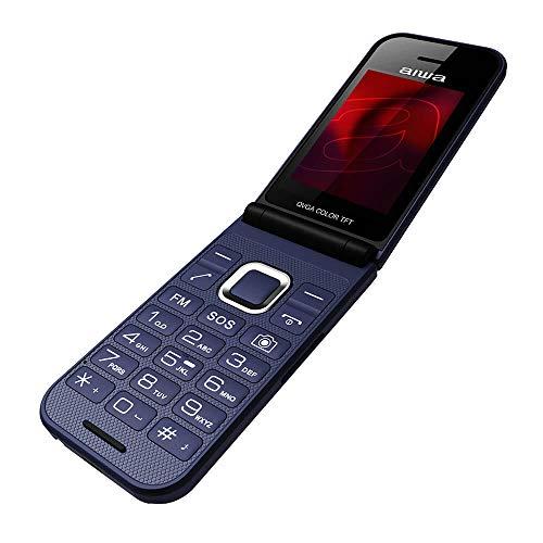 Aiwa FP-24DB BLAU Großtasten Bluetooth Seniorenhandy, Klapphandy, Dual-SIM, Farbdisplay, SOS, Notruf, 32MB ROM, 32MB RAM, GPRS, GSM
