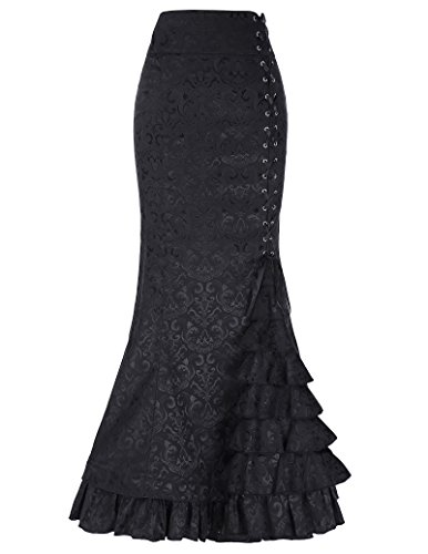 (204/203): High Waist; Corset Style Lace-up Design; Mermaid Hemline with Ruffled Details; (447)Women Retro Vintage Gothic Dress,Lacing in the front 204 / 203: * High waist * Side zipper enclosure *Double layer hemline * Fully lined * Skirt is long, a...