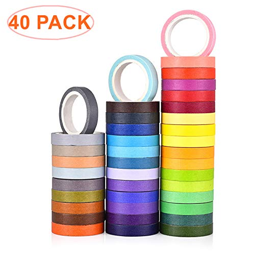 GCOA 40 Rollos Set de Cinta washi,Etiqueta engomada del Color del Arco Iris Cinta de enmascarar Decorativa para Scrapbook DIY Crafts Regalos Regalos Planificadores