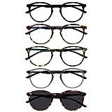 opulize met 5 pacco occhiali da lettura con lettore sole giro nero marrone verde grigio uomo donna rrrrs60-12672 +1,50
