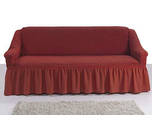 My Palace Giulia Sofabezug 2-Sitzer Rutschfester Sofaüberwurf Couchcover Sofa Überwurf elastische Sofahusse Couchbezug Sofaschonbezug 120-190cm Terracotta