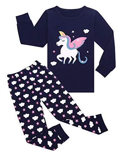 Bricnat Mädchen Schlafanzug Lang Baumwolle Kinder Langarm Pyjama Set Einhorn Zweiteiliger Nachtwäsche Blau 100