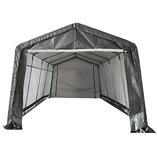 kdgarden 10' x 20' Heavy Duty Carport Portable Garage Enclosed Car Canopy Outdoor Instant Shelter Party Tent with Sidewalls for Auto and Boat Storage, Upgrade Waterproof and UV-Treated Fabric, Grey