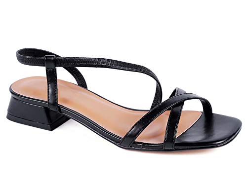 Greatonu Women Slide On Sandals Low Block Heels Elastic Strap Open Toe Shoes (9 US, New Black)