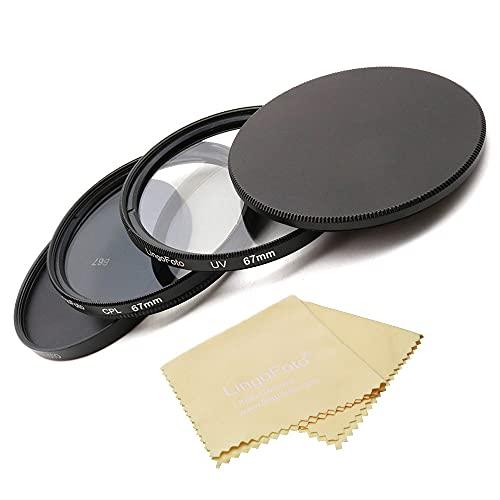 LingoFoto 67mm UV Filter+ Circular Polarizing (CPL) Lens Filter Kit with Metal Lens Filter Stack Cap Filter Protective Case &Lens Cloth for 67mm Camera Lens or Filters