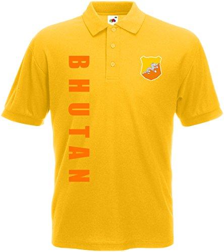 Bhutan Polo-Shirt Trikot Wunschname Wunschnummer (Gelb, XXL)