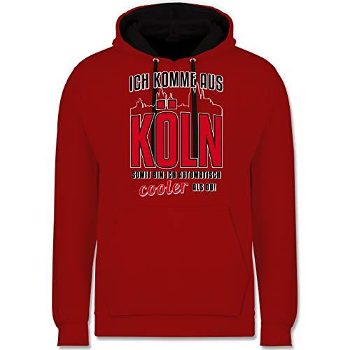 Städte - Ich komme aus Köln - XL - Rot/Schwarz - Hoodie köln - JH003 - Hoodie zweifarbig und Kapuzenpullover für Herren und Damen