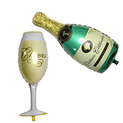 LAMEIDA Ballons Aluminium Un Ensemble Forme de Bouteille de Champagne Verre à vin Décoration fête Anniversaire célébration