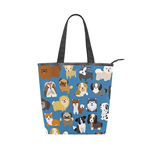 Damen Handtaschen, süßer Hund und Welpe, Canvas, Schultertasche