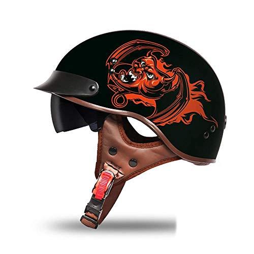 Yelmo Casco de la motocicleta de la vendimia 3/4 de la cara abierta del casco de la motocicleta Hombres Mujeres Vespa retro Los cascos de seguridad rápida hebilla de plástico ABS (Color: 05Black-L) Cr