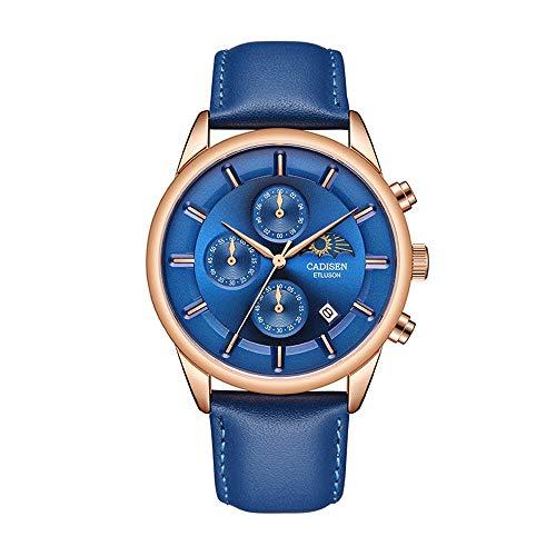 Relojde Marca para Hombre Cronógrafo de Cuarzo Fase Lunar Cuero Genuino Impermeable Marrón Relojdeportivo para Hombre Relojcronógrafo