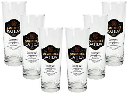 Mangaroca Batida Gläser - Kokoslikör Longdrink Gläser/Glas / 6er Set Cocktailgläser/Longdrinkgläser mit 5 cl Eichung/Eichstrich
