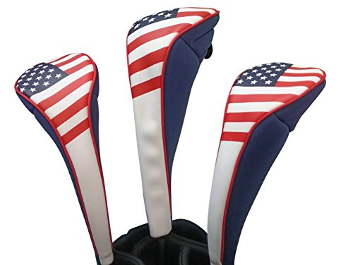 Majek USA Patriot Golf Zipper Head Covers Driver 1 3 5 Fairway Woods Headcovers U.S.A Neoprene Style Patriotic Driver Fits All Fairway Clubs and Drivers up to 460cc