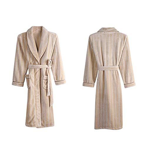 GNLIAN HUAHUA Homewear Hombres Largo Invierno Polar de Coral Albornoz Kimono Caliente Franela Albornoz Hombres Acogedor Batas Noche Ropa de Dormir Bata, XL Vendaje (Size : Click to Select XXXL)